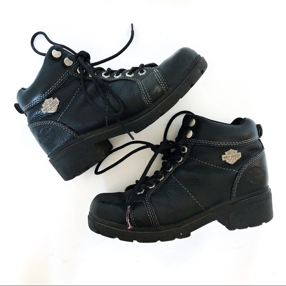 d9389ce2aa56 Harley-Davidson Shoes -  HARLEY DAVIDSON  Black Leather Moto Lace Up Boots